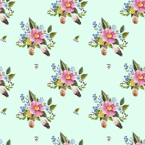 """4"""" Spring Breeze Florals - Minty Green fabric by shopcabin on Spoonflower - custom fabric"""