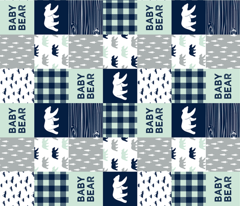 baby bear patchwork quilt top || the northern lights collection (90) fabric by littlearrowdesign on Spoonflower - custom fabric