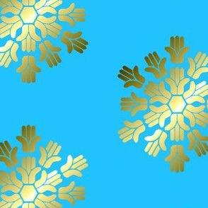 Hamsa, Gold Block Print on Blue