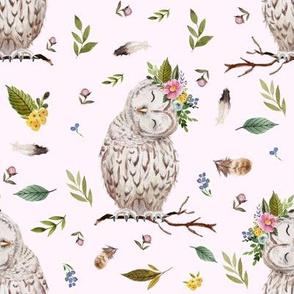 "8"" Spring Breeze Owl - Blush"