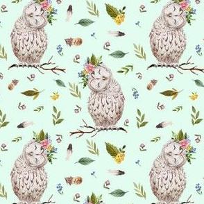 "4"" Spring Breeze Owl - Minty Green"