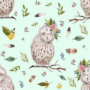 "8"" Spring Breeze Owl - Minty Green"