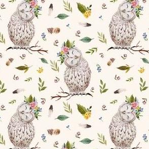 "4"" Spring Breeze Owl - Ivory"