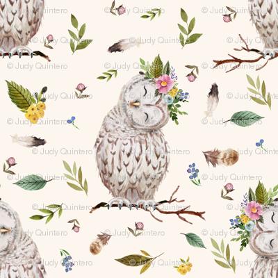 "8"" Spring Breeze Owl - Ivory"