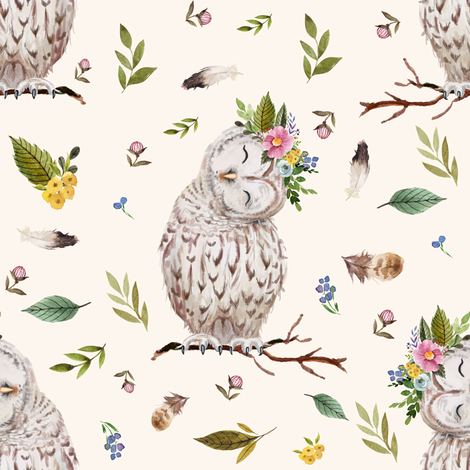 """8"""" Spring Breeze Owl - Ivory fabric by shopcabin on Spoonflower - custom fabric"""