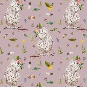 "4"" Spring Breeze Owl - Dusty Pink"