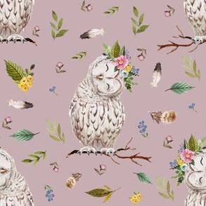 "8"" Spring Breeze Owl - Dusty Pink"