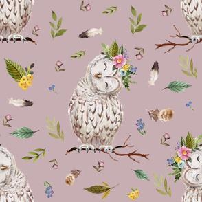"21"" Spring Breeze Owl - Dusty Pink"