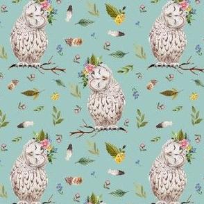 "4"" Spring Breeze Owl - Muted Aqua"