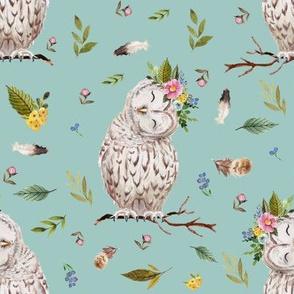 "8"" Spring Breeze Owl - Muted Aqua"