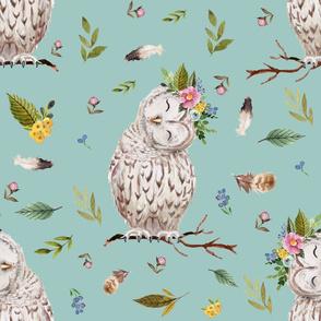"21"" Spring Breeze Owl - Muted Aqua"