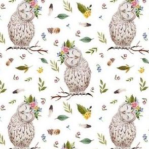 """4"""" Spring Breeze Owl - White"""