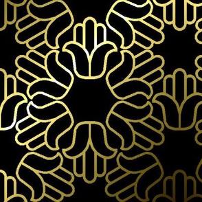 Hamsa, Gold Outline 01