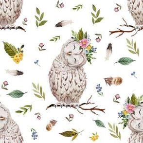 """8"""" Spring Breeze Owl - White"""
