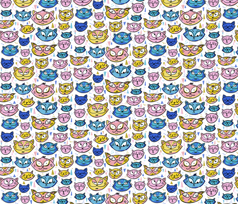 Emotional Cats Small  fabric by laurafisk on Spoonflower - custom fabric