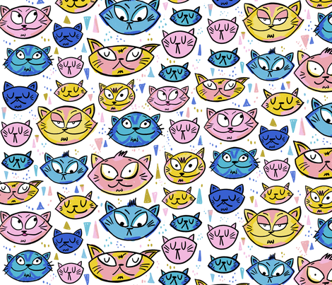 Emotional Cats - Large Home Decor fabric by laurafisk on Spoonflower - custom fabric