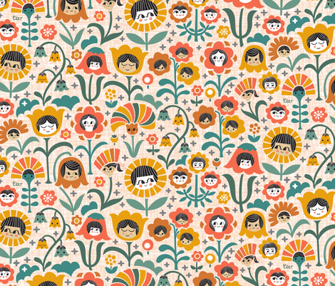 Sisters & Brothers (Orange Yellow) fabric by christinewitte on Spoonflower - custom fabric