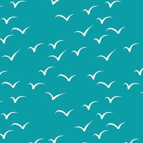 Swirling Seagulls Teal