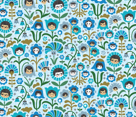 Sisters & Brothers Growing Tall Together fabric by studio_amelie on Spoonflower - custom fabric