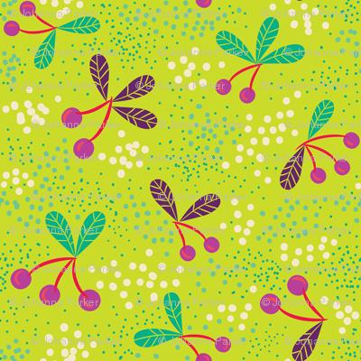 Cherries & Dots on Chartreuse medium