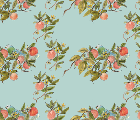 peachy bird fabric by thecynthiacollection on Spoonflower - custom fabric