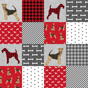 airedale terrier dog breed pet quilt a quilt wholecloth cheater quilt dog fabric
