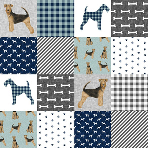 airedale terrier dog breed pet quilt b quilt wholecloth cheater quilt dog fabric