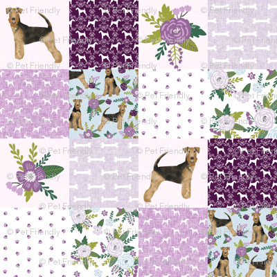 airedale terrier dog breed pet quilt c quilt wholecloth cheater quilt dog fabric