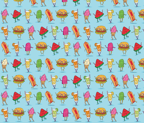 Summer BB Cuties Blue fabric by tinastextiles on Spoonflower - custom fabric