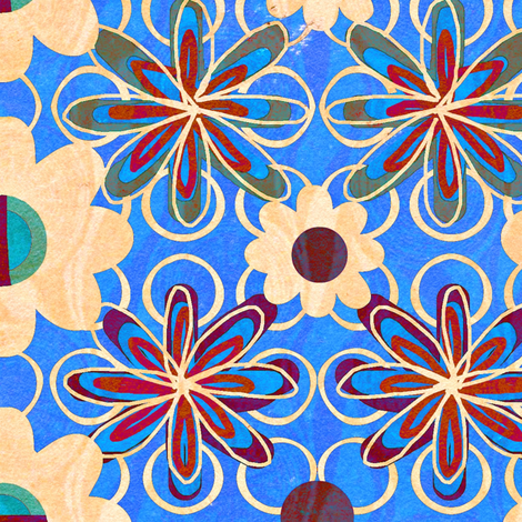 Yester Garden Retro / bright Blue fabric by franbail on Spoonflower - custom fabric