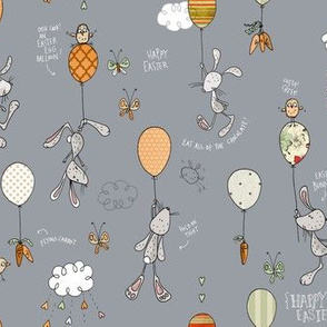Bunnies & Balloons, gray