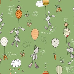 Bunnies & Balloons, green