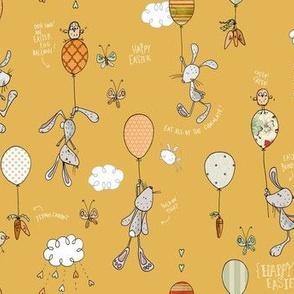 Bunnies & Balloons, mustard