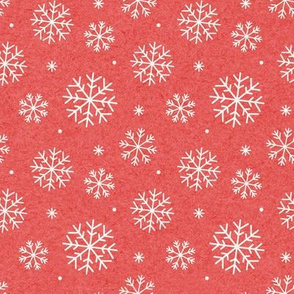 Snowflakes on Mottled Red