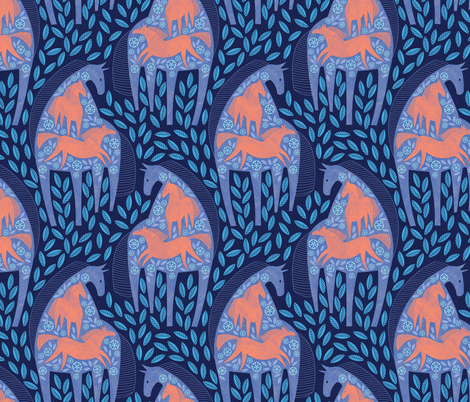 Horses wild and free fabric by lilalunis on Spoonflower - custom fabric