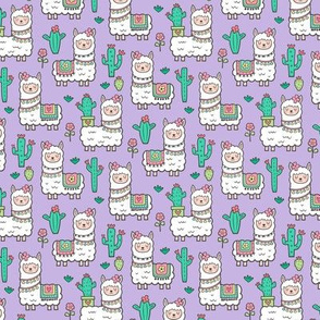llamas  Alpaca Cactus & Flowers on Purple Smaller 1,5 inch