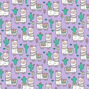 llamas  Alpaca Cactus & Flowers on Purple Smaller 1,5 inch
