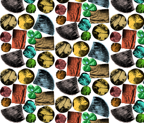 Wooden logs and Cloverleaf fabric by hoskari on Spoonflower - custom fabric