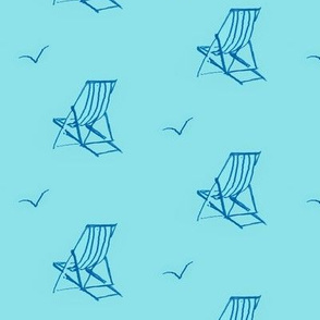 Deckchair Navy//beach design, turquoise fabric, nautical fabric