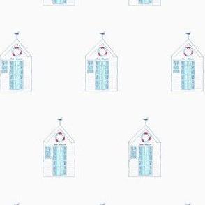 seahouse beach hut// beach hut fabric, ocean, blue and white