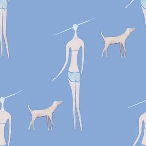 walking the dog//ladies chic, teens fabric blue, nautical