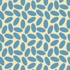 Random Blue Ovals on Cream, Minimilast Mod Shapes,
