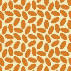Orange Oval Lozenge Shapes on Creamy Ecru, Modern Minimalist