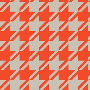 Houndstooth - Red, Taupe