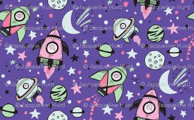 Pinkish Rocket Ships with Purple