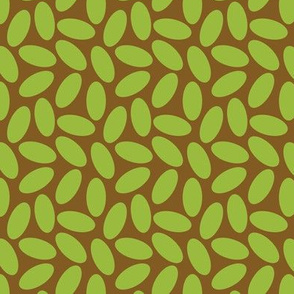 Lime Ovals on Brown, Arts and Crafts Style,