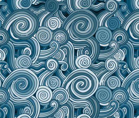 monochrome waves fabric by blueirisdesigns on Spoonflower - custom fabric
