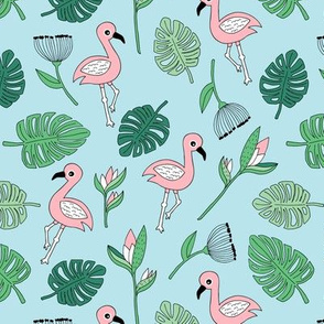 Cute tropical floral  jungle and flamingo birds pattern blue green