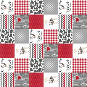 3 Inch Red Farm//Love you till the cows come home - wholecloth cheater quilt - rotated