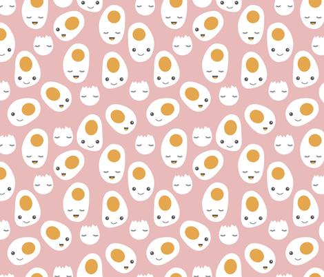 Cute kawaii eggs for breakfast cute food pattern soft pink girls fabric by littlesmilemakers on Spoonflower - custom fabric